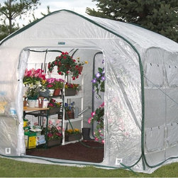 Flowerhouse - Flowerhouse 9 ft. Farmhouse Easy Pop-Up Greenhouse - 14331557 - Shop for Greenhouses from Hayneedle.com! Start your gardening adventure with the versatile functionality of the Flowerhouse 9 ft. Farmhouse Easy Pop-Up Greenhouse. This handy hot house is made with polyethylene panels and features roll up doors screened windows and an easy set up. Its end zippers let you connect multiple houses so your space can grow as your garden does!