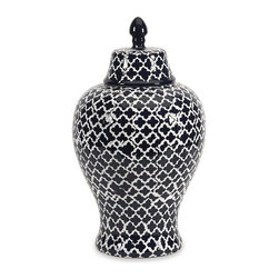 """IMAX - Layla Large Urn - The blue and white quatrefoil patterned large Layla urn adds a chic vibe to any room.  Item Dimensions: (17.5""""h x 10""""w x 10"""")"""