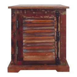 """YOSEMITE HOME DECOR - Accent Cabinet - A fun and useful accent chest that fits almost any space. Use as a chair side table, nightstand or just for that little bit of extra storage. Made of solid mango wood in a dark stain hand-applied with splashes of distressed paint, adds a little """"spice"""" anywhere. The shutter door features a distressed black metal faux dual latch handle. Assembled and Made in India.  Overall Item Dimesion is 20""""Wx14""""Dx24""""H"""