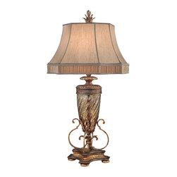 Fine Art Lamps 411310ST Pastiche Bronzed Gold Table Lamp - 1 Bulb, Bulb Type: 50/100/150 Watt Medium; Weight: 22lbs