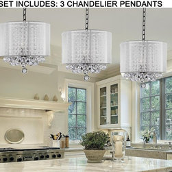 ***SET OF 3*** Crystal Chandelier Chandeliers With Large White Shade & Balls ! H - These beautiful fixtures are trimmed with Empress Crystal(TM)