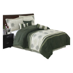Bed Linens - Grace 7-Piece Micro Suede Comforterter Set, Queen Size, Sage - THE COLORS OF THE GRACE COFFEE 7-PIECE COMFORTER SET ARE A COMBINATION OF COFFEE, BEIGE AND TAUPE.