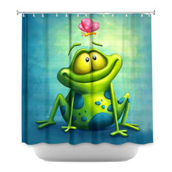 Shower Curtain HQ - How fun is this fabric shower curtain with artwork of a green frog looking up at a pink butterfly? This shower curtain would be great for a family that has brothers and sisters sharing the same bathroom because this frog would be loved by all!