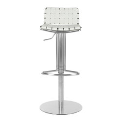 "Safavieh - Floyd Gas Lift Barstool - White - Choose the Floyd Gas Lift Barstool for stylish comfortable seating that adjusts to your needs. With white woven bonded-leather seat and back contrasting a sleek stainless steel base, pedestal and footrest, Floyd offers fashion and function. Designed for counters and people of varying heights, Floyd��_s seat height can be positioned from 22.8"" to 31.9.��_ Assembly required."