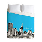 DENY Designs - DENY Designs Bird Ave Chicago Blue Duvet Cover - Lightweight - Turn your basic, boring down comforter into the super stylish focal point of your bedroom. Our Lightweight Duvet is made from an ultra soft, lightweight woven polyester, ivory-colored top with a 100% polyester, ivory-colored bottom. They include a hidden zipper with interior corner ties to secure your comforter. It is comfy, fade-resistant, machine washable and custom printed for each and every customer. If you're looking for a heavier duvet option, be sure to check out our Luxe Duvets!