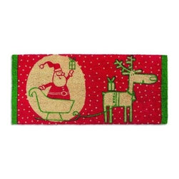 Tag - Kris And Rudy Estate Coir Mat by Tag - OurKris and Rudy Estate Coir Mat adds a bit of Christmas cheer welcomes the season to your home. Features fun illustration of a cheerful Santa and his loyal reindeer setting off to bring presents to all the good little boys and girls. Estate size is perfect for your double entry. Coir is a natural, renewable fiber extracted from coconut husk and is easy to care for.