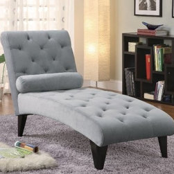 Coaster Chaise Lounge with Button Tufted Gray Velour Fabric - This button-tufted gray chaise would be a lovely addition to a living room.