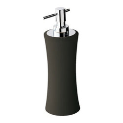 Gedy - Soft Touch Anthracite Ceramic Pottery Rounded Soap Dispenser - Made in ceramic pottery and coated with soft touch anthracite. This free stand round lotion dispenser pump (part of the Gedy Mughetto collection) is great for your contemporary master bathroom, plus, it will help always have soap handy. Manufactured in It