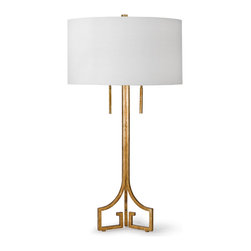 Kathy Kuo Home - Tandy Hollywood Regency Linen Gold Leaf Table Lamp - Like a gorgeous, graceful Hollywood star, this delicate lamp shines beautifully bright. The slim silhouette is elegant on an end table and magnificent on your mantle. The clean, crisp white drum shade complements a glowing gold base and  rectangular feet.