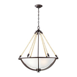 ELK Lighting - ELK Lighting 63014-4 Natural Rope 4-Light Pendants in Aged Bronze - This collection transforms natural rope from a functional material to a unique decorative element adding color, texture, and material that contrasts nicely with the Aged Bronze finished metalwork. Tan linen shades included.