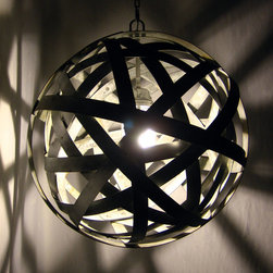 Stil Novo Design - Orbits, urban chandelier, recycled wine barrel metal hoops, galvanized steel - Our exclusive Orbits ceiling lamp, unique chandelier has been crafted by skillfully weaving and welding together several metal hoops recycled from discarded French oak wine barrels. The bands are made of galvanized steel that gives this extraordinary piece a very definite urban feel. Please note that the hoops are retreated with a galvanized paint when necessary, in order to eliminate rust and achieve uniformity. Occasionally, welding's markings will be visible in specifics spots, adding to the 'industrial' style of the piece.