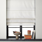 Solid Roman Shade - I like simple roman shades in an office. It is no-fuss and simple. It gives the room an airy feeling.