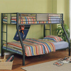 Powell - Monster Bedroom Twin over Full Bunk Bed with Built-In Ladder - Where ordinary youth bedroom furniture becomes extraordinary sleep, study and storage two beds in the space for one. This bunk includes a Twin size upper bunk and Full size bed underneath.Made of heavy gauge powder coated tubular steel frames, textured chrome plated decorative inserts and chrome lattice end panel inserts, give this bunk bed the rugged construction to survive in any youth environment. Features: -Heavy gauge powder coated tubular steel frame.-Textured chrome plated decorative insert.-Chrome lattice end panel insert.-Monster Bedroom collection.-Collection: Monster Bedroom.-Distressed: No.Dimensions: -Dimensions: 59.75'' H x 79.75'' W x 59.9'' D.-Overall Product Weight: 141 lbs.Warranty: -1 year warranty against defects in materials, workmanship, or manufacturing.