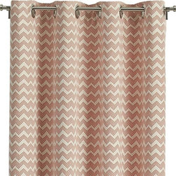 """Reilly Orange 50""""x108"""" Curtain Panel - Dobby-loomed curtain panels stripe creamy cotton with pastel chevrons composed of tiny orange squares for softly defined pattern and color. Matte nickel grommets along the top add to the fresh, modern look. Curtains are lined in cotton-blend fabric and detailed with 4"""" hems. Curtain accessories also available."""