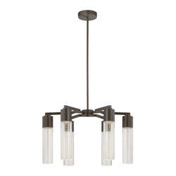 George Kovacs - Light Rain 6-Light Chandelier - This chandelier points light in the right direction. Its contemporary, elongated form of clear, seeded glass tubes and a copper bronze patina frame is a perfect fit over your kitchen or dining table, or even in a foyer.