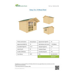 Daisy 10 x 10 Wood Shed / Pool House - ECO Garden Sheds. All natural wood 10 x 10 Tropical pool house/ wood shed -- Daisy. 10 x 10 Wood Shed Brochure.