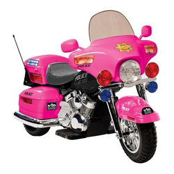 Kid Motorz - Kid Motorz Patrol H Police Motorcycle Battery Powered Riding Toy Multicolor - 09 - Shop for Tricycles and Riding Toys from Hayneedle.com! Let your little girl know that anything boys can do she can do better - especially when she has the Kidz Motorz Patrol H Police Battery Powered Riding Toy - Pink along for the ride. Crafted of steel and plastic this hot pink riding toy helps her rule the neighborhood and keep bullies in line. Her ride is equipped with working headlights hazard lights and signal lights so everyone will know when she's coming and when she's making an arrest. This riding toy accelerates by hand and features a storage box and pretty chromed details.About National ProductsA leading toy manufacturer and exporter in Hong Kong National Products is part of a group of four firms called the Playmind Ltd. Group. As recognized by peers the company is both a reputable and reliable working partner as well as supplier in the toy and ride-on industry. Most importantly not just children have fun with National Products ride-on products; parents also appreciate the detailed life-like quality and safety of the innovative designs. National meets or exceeds all safety/quality control government guidelines.