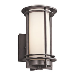 """Kichler 1-Light Outdoor Fixture - Architectural Bronze Exterior - One Light Outdoor Fixture Back plate height: 5""""back plate width: 4. 75""""height from center outlet: 6. 75"""""""