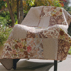 None - Camilla Patchwork Quilted Throw - A collage of updated floral and foulard fabrics in both natural and blue colors, the Camilla quilt set is perfect for any season. Quilted in a stylized vermicelli stitch pattern, Camilla reverses to a coordinating all-over geometric print.
