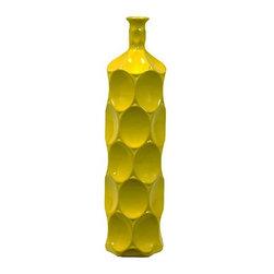 "Benzara - Ceramic Bottle With Circular Embedded Design Body in Yellow (Large) - A multiversatile decor item that will enhance and accentuate your interior decor, the Unique Ceramic Bottle With Thin Mouth and Circular Embedded Design Body in Yellow (Large) features a lovely slim mouth and a stylish circular embedded design on its body. This ceramic bottle can be used as a standalone decor item or be paired with flowers to decorate and add color to your mantle place, desk or table. The dimensions of the Unique Ceramic Bottle With Thin Mouth and Circular Embedded Design Body in Yellow (Large) is 5.5""x22""H. Ceramic; Yellow; 5.5""x22""H; Dimensions: 0""L x 6""W x 22""H"