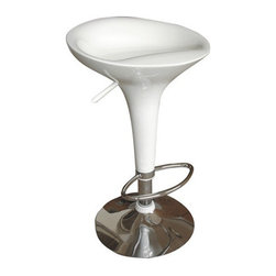 Fine Mod Imports - Ice Cream Bar Stool White - If you're a little bit retro and a little bit rock 'n roll, then this bar stool will be exactly what you're looking for. The clean, curvy lines of the fiberglass seat melt into the polished chrome base for a contemporary take on the old soda fountain days.