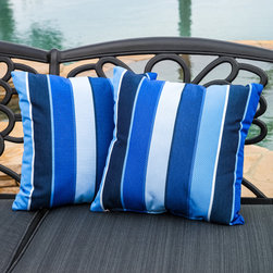 Christopher Knight Home - Christopher Knight Home Milano Colbalt Blue Striped 17-inch Sunbrella Pillows (S - Accessorize your home with these colorful Christopher Knight Home Milano Colbalt Blue striped pillows. Upholstered in Sunbrella woven fabric,these colorful chic accent pillows are a great option to add flare and comfort to your home.