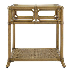 """Selamat - Selamat Regeant Side Table with Glass-Nutmeg - English garden trellis work and windows are echoed in the decor and elegant style of the Regeant Collection. Leather wrapped rattan pole with 1/4"""" thick inset tempered glass top."""