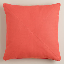 World Market - Coral Herringbone Cotton Throw Pillow - Our exclusive Coral Herringbone Cotton Throw Pillow is a colorful update to any room setting. With sophisticated mitered seams and a removable insert, it's a perfect accent piece available at a great price.