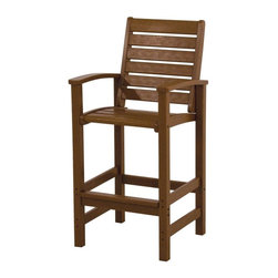 Polywood - Eco-friendly Bar Chair in Teak - Solid, heavy-duty construction withstands natures elements. If you're looking for an outdoor chair that stands above the rest, then you want the Polywood Signature Bar Arm Chair. Its tall on style and even taller on comfort. in fact, the only thing that's low on this chair is the maintenance required to keep it looking like new. Polywood lumber requires no painting, staining, waterproofing, or similar maintenance. Polywood lumber does not splinter, crack, chip, peel or rot and it is resistant to corrosive substances, insects, fungi, salt spray and other environmental stresses.