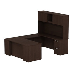 """BBF - Bush 300 Series 72"""" U-Shape Desk with 4-Door Hutch in Mocha Cherry - Bush - Commercial Grade Office - 300S055MR - Keep everything in front of you with the BBF Mocha Cherry 300 Series 72""""W x 30""""D Executive U-Station Desk with 72""""W Tall Storage. Its executive arrangement fits any office environment. Large U-shaped top surfaces offer a comfortable place to spread out and the return fits multiple office configurations. Two box drawers and one file drawer in the pedestal store files or office supplies. The Return features two file drawers on fully extendable drawer slides for easy access to back. All file drawers accommodate letter- legal or A4-size files. Tall Overhead Hutch helps keep desk areas clear and has an open center section for large books or oversize manuals. Height matches other 300 Series hutches for side-by-side configurations. Four enclosed compartments hold supplies, electronics or personal items."""
