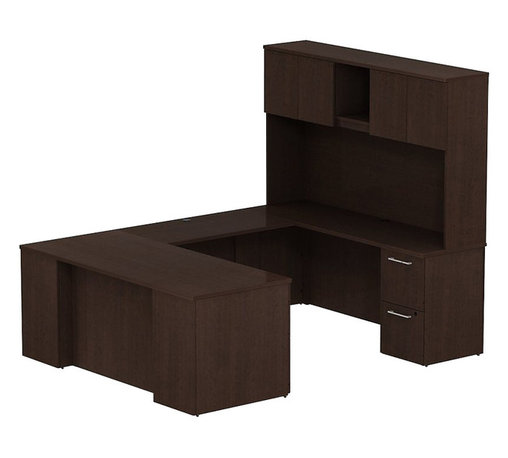 "Bush - Bush 300 Series 72"" U-Shape Desk with 4-Door Hutch in Mocha Cherry - Bush - Commercial Grade Office - 300S055MR - Keep everything in front of you with the BBF Mocha Cherry 300 Series 72""W x 30""D Executive U-Station Desk with 72""W Tall Storage. Its executive arrangement fits any office environment. Large U-shaped top surfaces offer a comfortable place to spread out and the return fits multiple office configurations. Two box drawers and one file drawer in the pedestal store files or office supplies. The Return features two file drawers on fully extendable drawer slides for easy access to back. All file drawers accommodate letter- legal or A4-size files. Tall Overhead Hutch helps keep desk areas clear and has an open center section for large books or oversize manuals. Height matches other 300 Series hutches for side-by-side configurations. Four enclosed compartments hold supplies, electronics or personal items."
