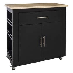 """Hardware Resources - Lyn Design ISL500 Kitchen Island, Black, With Countertop - This 36"""" x 20"""" x 36""""  island is manufactured out of MDF. This small island features one working drawer and a large cabinet with adjustable shelf. The drawer is equipped with full extension slides and the cabinet hinges have a softclose assembly. Wood top preassembled (Can be purchased without counter top, see options). Soft rubber casters included. The included decorative hardware can be found in the Elements Naples Collection (176 & 156)."""