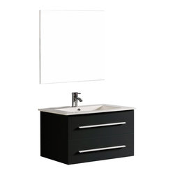 "Bosconi - 32"" Bosconi A-5019B Contemporary Single Vanity - Simplicity meets style perfection with this soft black 32"" Bosconi floating vanity set. The rectangular, integrated ceramic countertop and sink adds a modern touch, while the double soft closing pull-out drawers provide plenty of storage space. The coordinating square overhanging mirror completes the contemporary interior style transformation."