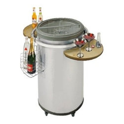 Vinotemp - Rolling Party Cooler - Get the party started with this party-Style Vinotemp rolling beverage fridge. Simply plug it in before the party, fill it with your beverages of choice, and then unplug it and roll it into place for the duration of your party. The top-opening design ensures that your drinks stay cool without ice or electricity for up to 10 hours! By using a tempered glass top, guests can easily see the refrigerator's contents before opening the lid. The Vinotemp Party Cooler comes equipped with 2 side shelves for serving, as well as a wire basket that hangs on the side of the cooler for displaying bottles.