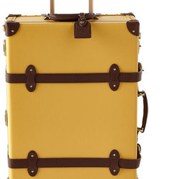 """Horchow - Yellow Correspondent Carry-On Case - Yellow Correspondent Carry-On CaseDetailsHandcrafted carry-on made of fiberboard.Leather straps.TSA-approved lock.Aluminum extendible trolley handle.Detachable wash bag.Approximately 13""""W x 7.5""""D x 18.75""""T.Imported."""