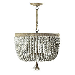 Malibu Chandelier - I love the strands of bone-colored beads with bronze veining and the hemp tassel. It's a little earthy, slightly glam and absolutely perfect.