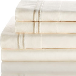 Melange Home - 600 Thread Count 100% Egyptian Cotton 2 Bonder Sheet Set, Ivory on Ivory, King - Features: