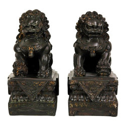 "Oriental Furniture - 9"" Foo Dog Statues (Set of Two) - These exceptionally detailed statues are a mirrored pair of Chinese Foo Dogs on traditional pediments. Fu dogs are said to be rendered from the descriptions Taoist and Buddhist artists heard of great lions, creatures not native to the Far East. Mythical creatures considered auspicious in traditional Chinese and Japanese Buddhist art and iconography, thought to ward off bad influences and to keep safe the good souls in their charge. Finding unique and interesting interior design accents is not the easiest part of decorating a room, but it is fun, and crucial to turning a house or apartment into a home of one's own. Fu dogs are thought to bring good luck."