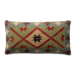 """Grandin Road - Kerala Kilim Throw Pillow - 11"""" x 21"""" - Durable cotton backing. Zippered closure. Plump polyester fill. Dry clean only. Pillow inserts are vacuum packed to minimize shipping costs – simply fluff to restore shape. Exciting patterns and rich colors make our Kilim Indoor Throw Pillows timeless favorites. Covers are crafted on traditional kilim looms, making each pillow a one-of-a-kind creation.  .  .  .  .  . Imported."""