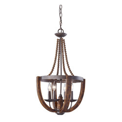 Murray Feiss - Murray Feiss F2753 4 Adan 4 Light Single Tier Chandelier - The artfully crafted rustic iron structure, combined with gently curved burnished wood arms make this chandelier the perfect choice for your home.