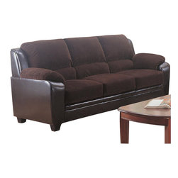 Coaster - Coaster Monika Stationary Sofa in Chocolate - Coaster - Sofas - 502811 - Gentle to the eye and to the touch, this unique two-toned sofa is the ultimate in comfort and style. Designed with thick boxed seat cushions, pillow-top arms, and channel-tufted back pillows, this couch offers the optimal comfort and support you need for long-term lounging and socializing. Creatively upholstered with a corduroy fabric on top and a sleek brown vinyl on the bottom, this three-seat sofa is infused with a casual-contemporary style that will bring charm to any room. Framed by crisp lines and tapered wood feet, there's no denying this sofa's striking design.