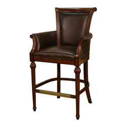American Heritage - American Heritage Federico Bar Stool in Canyon w/ Porter Brown Leather - Bar Stool in Canyon w/ Porter Brown Leather belongs to Federico Collection by American Heritage This beautiful, stationary stool is the perfect addition to any conversation area. The Federico traditional bar stool features an exquisite, hand carved, wood frame finished in canyon and includes Mortise and tenon construction which adds strength and durability for durability. The contoured backrest, 3-inch cushioned, web woven seat and armrests are upholstered in bonded porter brown leather adding style, support and comfort to this eye-catching piece.   Barstool (1)