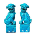 Used Vintage Turquoise Foo Dogs - A Pair - There's nothing better than a pair of vintage turquoise Foo Dogs to add a touch of whimsy and color to your home. This chic pair is in great condition and would look great on any table, bookshelf or desk.
