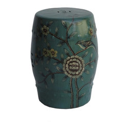 Golden Lotus - Chinese Hand Painted Bird & Plum Flowers Green Porcelain Stool - This elegant green porcelain stool is hand painted with a motif of a bird on a plum tree scenery. It can also be a unique plant stand or display stand.