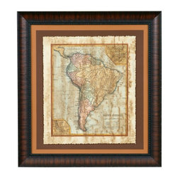 Bassett Mirror Company Inc - Bassett Distressed Map II Hand Colored Framed Wall Art - 25W x 27H in. Multicolo - Shop for Framed Art and Posters from Hayneedle.com! The Basset Distressed Map II Hand Colored Framed Wall Art is a perfect choice for those who love to travel or for those who love to dream about traveling. This vintage style map of South America is hand colored making it a unique conversation piece for your wall.