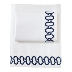 Serena & Lily - Savoy Links Embroidered Sheet Set Navy - A beautiful banister we once spotted inspired this design, impeccably stitched on crisp cotton sateen. Classic navy provides elegant contrast against pure white. If you 're looking for a luxurious basic, you 're in luck.
