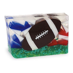 Primal Elements - Football 6.0 oz Bar Soap in Shrinkwrap - Kickoff your day with exotic sandalwood, musk and a dash of moss and patchouli. Sight, smell, shape and feel have become the trademark of Primal Elements soaps. The colors and shapes coordinate with unique scents for a beautifully fragrant presentation; all soaps contain vegetable glycerin, which moisturizes the skin with a luxurious lather that rinses cleanly away. We use pure essential oils and popular fragrance oils for optimum fragrance.
