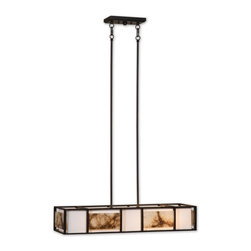 Uttermost - Uttermost Quarry 4 Light Chandelier - Slabs of marble over an ivory shade create a simple linear feeling that works with a broad range of looks, effective whether contemporary, transitional, or rustic.