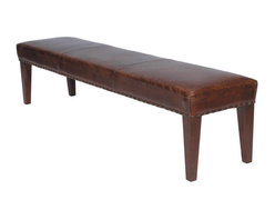 Four Hands - Augustine Bench 69'' - Nothing says old-world richness like the look of beautifully worn leather accented with nailhead details. The timeless style of this bench evokes an old-world and luxurious sensibility while pairing well with many modern designs. Sometimes you don't have to search for a truly vintage piece to achieve an elegantly aged effect.