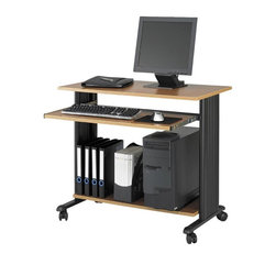 Safco - MUV 35 in. Fixed Height Workstation in Medium Oak - Constructed of steel with pressed wood shelves, this mobile workstation will be a versatile addition to any office decor. Featuring a fixed height design and molded side panels for hidden cord management, the unit has a castered base for easy mobility and is finished in medium oak. Two locking dual wheel carpet casters. Four casters. Decoratively molded side panels that hide cables to keep your station clean. The keyboard shelf extends and retracts under the work surface when not in use. Frame made from steel. Shelves made from compressed wood. Powder coat frame and melamine laminate finish. Weight Capacity: 100 lbs. (Desk Top), 25 lbs. (Keyboard Tray). Keyboard Shelf Dimensions: 30.75 in. W x 13.5 in. D. Worksurface Height: 30.5 in.. Worksurface Dimensions: 35.5 in. W x 19.75 in. D x 0.75 in. H. Overall: 35.5 in. W x 22 in. D x 30.5 in. H (45 lbs.). Assembly InstructionWhat's your Muv? No matter the setting the Muv workstation is the right choice. This mobile workstation is great in the computer lab, library, media center, server room, classroom, faculty lounge, print shop or conference room. It's your Muv.